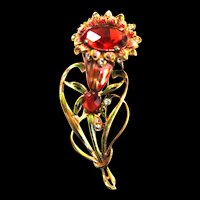 1940s Flower Brooch.Enamel