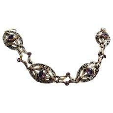 Exquisite Victorian Amethyst Filigree Bracelet