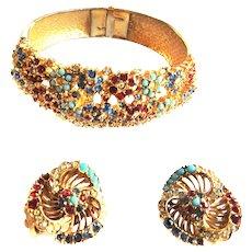 Vintage Ciner Multi Stone Clamper Bracelet and Earrings