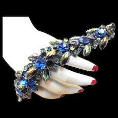 Gorgeous Big Chunky Iridescent Vintage Rhinestone Bracelet