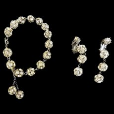 Vintage Rhinestone Drippy Ball Bracelet and Earrings