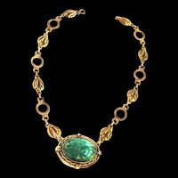 Vintage Renaissance Revival Marbled Glass Faux Jade Egg Detailed Necklace