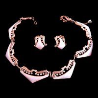 Gorgeous Mid Century Modern Matisse Powder Pink Necklace and Earrings Copper Enamel