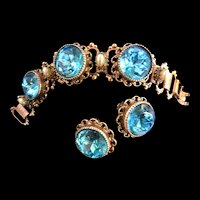 Vintage Aqua Marine  Glass and Faux Pearl Big Chunky Bracelet and Earrings