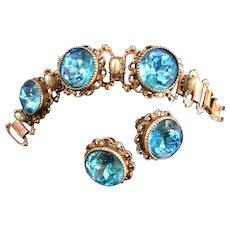 Vintage Aqua Marine  Glass and Faux Pearl Big Chunky Bracelet and Earrings