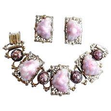Fabulous Vintage Lava Rock Pink Chunky Bracelet and Earrings
