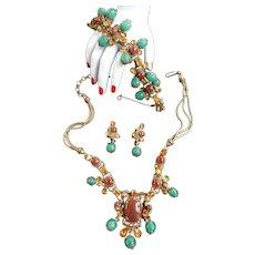 Breathtaking 1940s Carnelian Necklace Bracelet Earrings Austro Hungarian