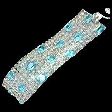 Massive Aqua Majestic Rhinestone Bracelet 1950s