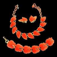 Gorgeous Lisner Tangerine Leaf Necklace Bracelet Earrings