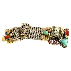 Mesmerizing Egyptian Revival Big Stones  Pharaoh Vintage Bracelet faux pearls