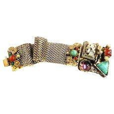 Mesmerizing Egyptian Revival Big Stones  Pharaoh Vintage Bracelet faux pearls