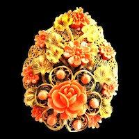 Exquisite 1930s Czech  Faux Coral Massive Celluloid Brooch