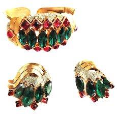 Breathtaking Trifari Jewels Of India Bracelet and Earrings
