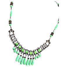 Jaw Dropping Czech Early 1900s Drippy Necklace