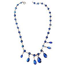 Early 1900s Sapphire Blue Drippy Glass Necklace