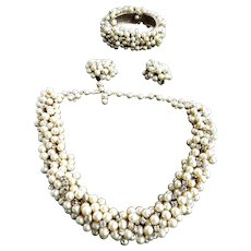 Designer Faux Pearl Choker Necklace Bracelet and Earrings Vintage