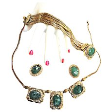 Vintage   Art Glass Pressed Glass Necklace Bracelet Earrings