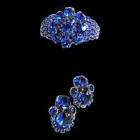 Vintage 50s Huge Sapphire Blue Clamper bracelet and Earrings