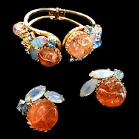 Simply Gorgeous Vintage Crackle  Glass Art Glass Big Chunky Bracelet and Earrings