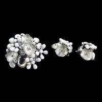 Breathtaking DeMario Vintage Art Glass Brooch and Earrings