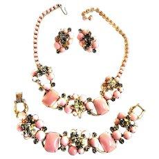 Juliana Pink Cabochon Necklace Bracelet Earings