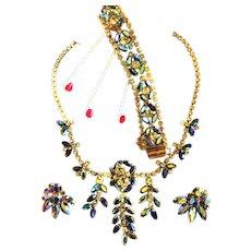 Dazzling Vendome Heliotrope Drippy Necklace Bracelet Earrings 50s