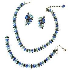 Gorgeous Navette Sapphire Colored Vogue Necklace Bracelet Earrings Rhinestone Parure Vintage 50s