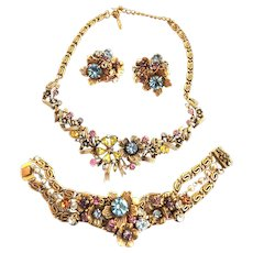 Designer Pastel Big Chunky Pastel Necklace Bracelet Earrings 50s Faux Pearls Rhinestones
