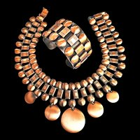 Fabulous Huge  Mid Century Modern Copper Collar And Bracelet