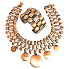 Fabulous Huge  Mid Century Modern Copper Collar And Bracelet