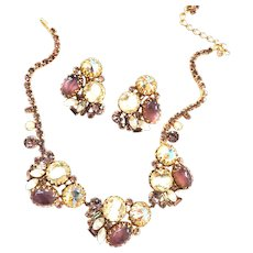 Exquisite Art Glass and Cabochon Designer Vintage Necklace and Earrings
