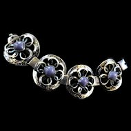Extraordinary Detailing Mexican Amethyst Wide 40s Bracelet