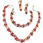 Jaw Dropping Trifari Crown Siam Red Necklace Bracelet Earrings Vintage