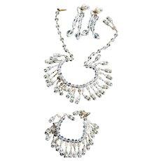 Breathtaking 1930s Designer Crystal Necklace Bracelet Earrings