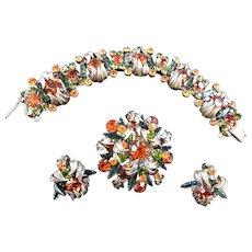 Juliana VIntage Demi Parure Brooch Earrings Bracelet Must C