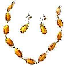 Early 1900s Czech Open Back Topaz Necklace and Earrings