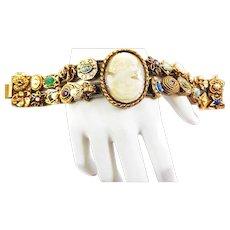 Goldette 25 Charms Double Slide Bracelet  Vintage