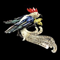 Vintage Pot  Metal Bird Brooch Rhinestones and Enamel