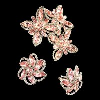 Pretty in Pink Weiss Vintage Enormous Brooch and Earrings