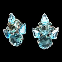 Juliana Aqua Marine Huge Rhinestone Earrings