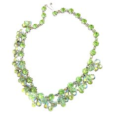 Vintage Weiss Drippy Peridot Crystal Chunky Rhinestone Necklace