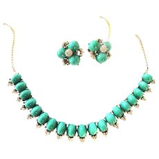 Gorgeous Reja Vintage Cabochon Necklace and Earrings