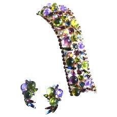 Spectacular Huge Cabochon Glass Designer Bracelet and Earrings c.50s