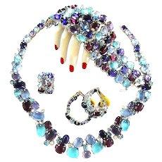 Breathtaking Glass Cabochon Necklace Bracelet Earrings Ring Vintage 8a7b7da4913