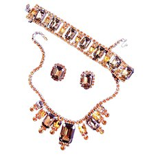 Amazing Topaz and Hyacinth Designer Vintage Necklace Bracelet Earrings