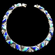 Spectacular 1970s Mexican Sterling Azurite Silver Collar Necklace