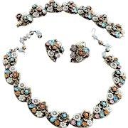 Faux Pearl and Rhinestone 1950s Necklace Bracelet Earrings