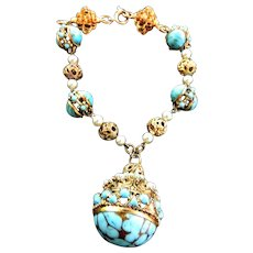 Vintage FOB Charm Bracelet with Faux Pearls and Turquoise