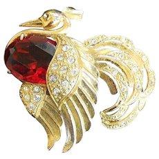 Exquisite 1940s Bird Brooch Huge