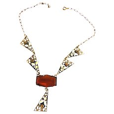 Exquisite Early 1900s Czech Topaz and Enamel Flowers Necklace